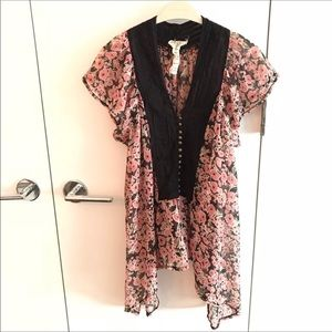 Free People FP One Floral Top with Hi Low Sides